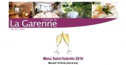 Repas pour la Saint Valentin - L'Auberge de la Garenne