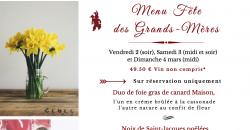 Menu Fête des Grands-Mères - L'Auberge de la Garenne