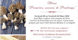 """Menu """"Premières saveurs de Printemps - L'Auberge de la Garenne"""