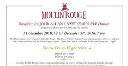 Réveillon du JOUR de L'AN / Menu Pesco - Végétarien - Le Moulin Rouge