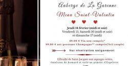 Menu Saint-Valentin - L'Auberge de la Garenne