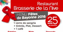 Menu des Fêtes de Bayonne 2016 - Le Bayonne - Brasserie de la Nive