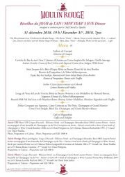 Réveillon du JOUR de L'AN / NEW YEAR' S EVE Dinner