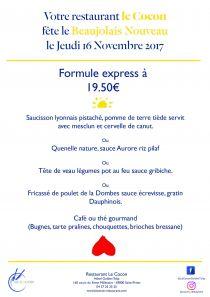 Menu spécial Beaujolais