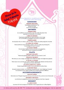 Repas pour la Saint Valentin