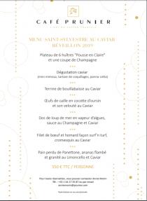 Menu Saint-Sylvestre au Caviar Réveillon 2019